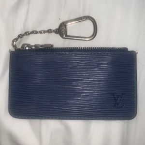 AUTH Louis Vuitton Blue Leather Keychain Zip Pouch